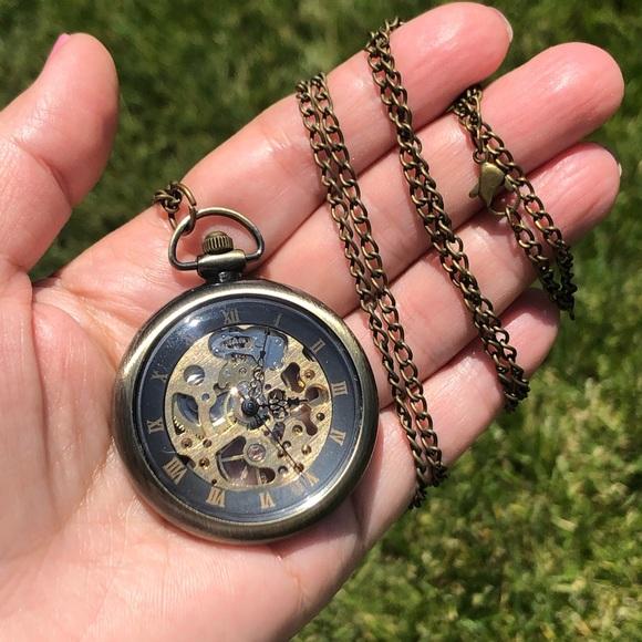Steampunk selfwinding antiq pocket watch necklace